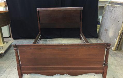 Mahogany Bed frame before repairing and refinishing
